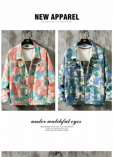 Camouflage Painted Blue Pink Denim Jacket