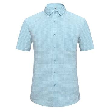 Breathable Social Work Clothing Solid Color Small Lattice short sleeve shirt