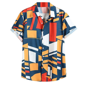 Contrast Color Geometric Printed short sleeve shirt