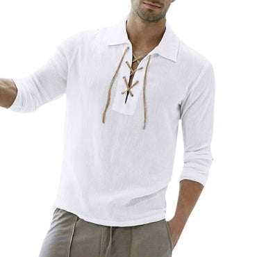 Baggy Cotton Blend Solid Color Long Sleeve Turn-down Collar t-shirt
