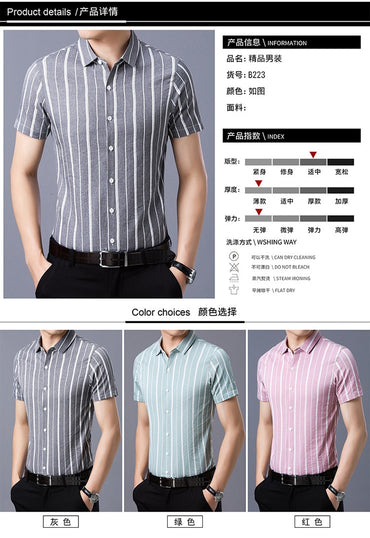 thin striped collar cultivate short sleeve shirts