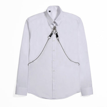 zipper design Solid color Slim Dress Shirts