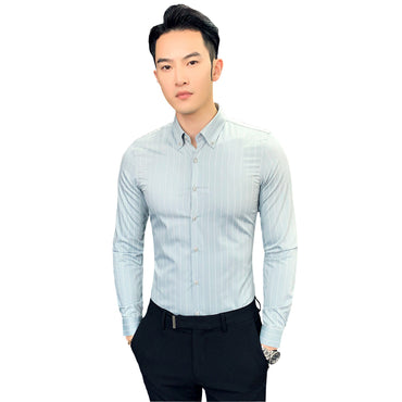 Long Sleeve Slim Fit Striped Dress Shirt