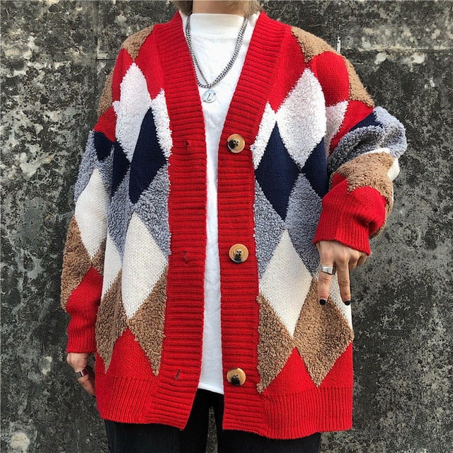 Thick Cardigan Contrast Color Casual V-neck Knit Sweater