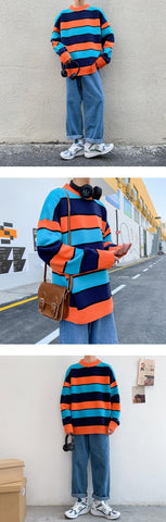 Contrast Color Casual Knit Pullover Loose Long-sleeved Sweater