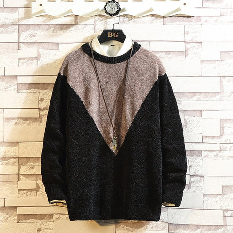 Contrast Color Stitching Casual Knit Sweater