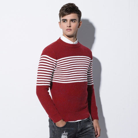 casual long-sleeved warm striped print lapel knit stretch sweater
