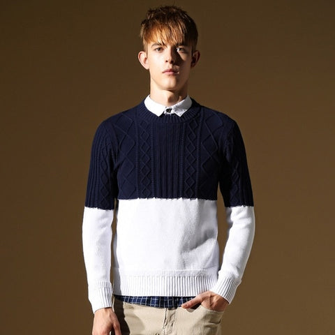 casual long-sleeved warm solid color lapel knit stretch sweater