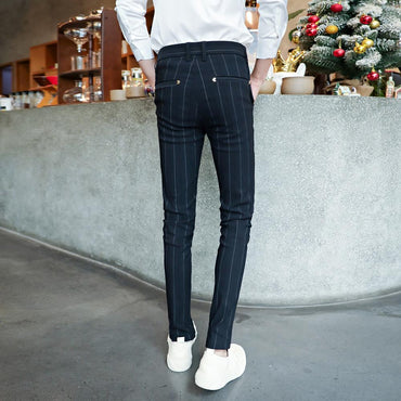 Korean version of the slim striped casual pants