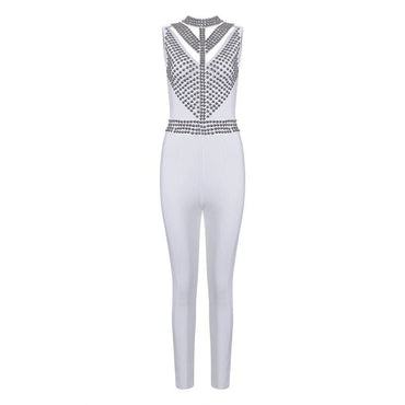 White O-neck Sleeveless Rivet Beads Bodycon Shoulder Strap Romper
