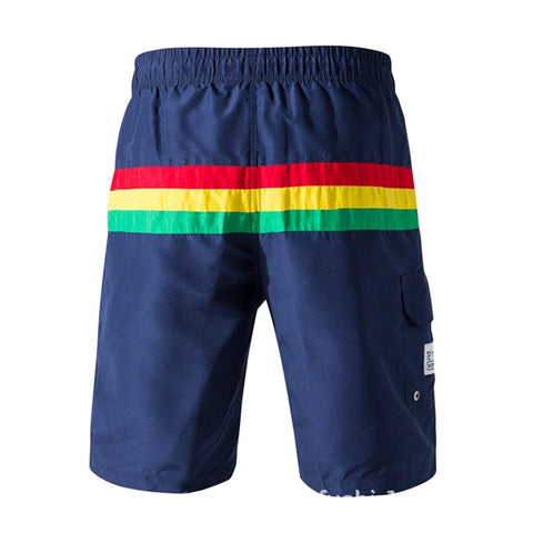 Single Color Stripes Printed Beach Shorts