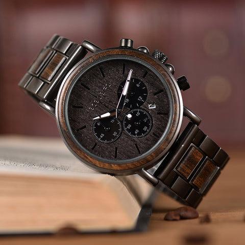 Wooden Luxury Stainless Steel Quartz Wristwatches