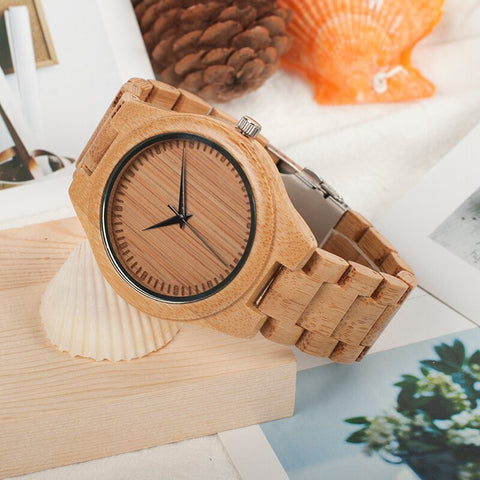 Wristwatches with Bamboo Band Wood Watch