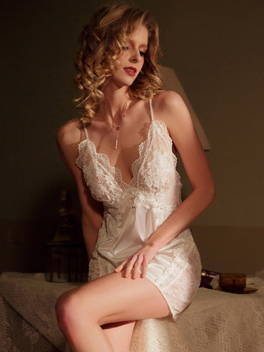 sexy open nude back lace sexy silk pajamas suspender pajamas nightdress set sleepwear