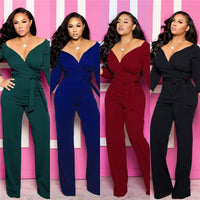 Deep V Neck  Jumpsuits