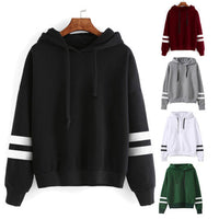 Striped Long Sleeve Solid Hooded Hoodie