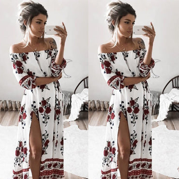 Chiffon Floral Long Sleeve Party Flower Casual Long Maxi Dresses