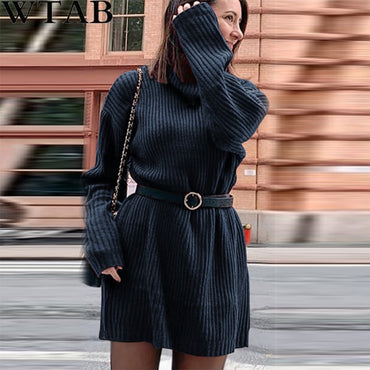 Rib Knit Warm Sweater Dress