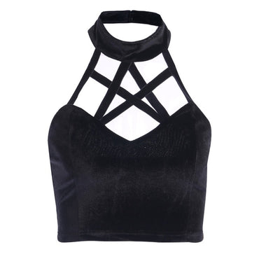 Hallow Out Black Camis Sexy Tank Tops