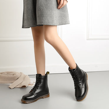 Genuine Leather Keep Warm Black Ankle Boots