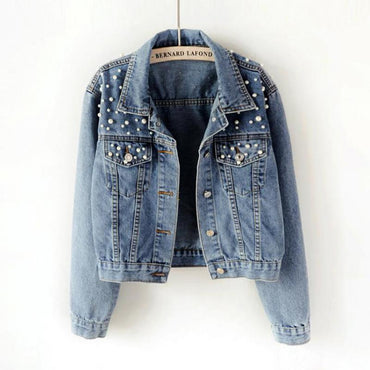 Light Blue Pearl Beading Slim Denim Jackets & Coats