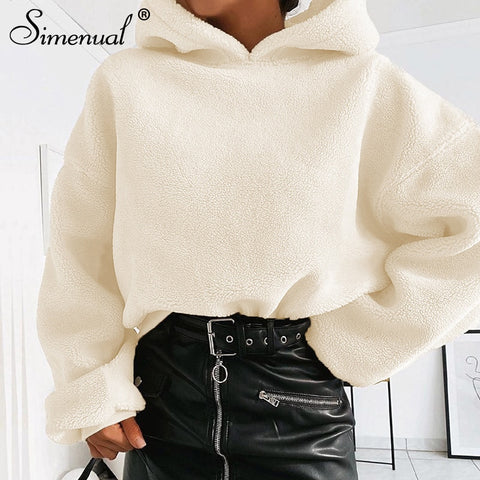 Fleece  Solid Warm  Casual hoodies