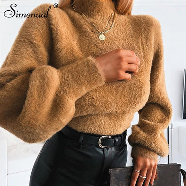 Faux Fur Cozy Sweatshirts Warm Long Sleeve Fashion Solid Hoodies