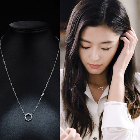 Personalized 925 Sterling Silver Jewelry Korean Rhinestone Circle Necklaces