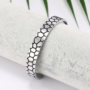 Stainless Steel Strip Lines Cuff Bangle Health Magnetic Elegant Bracelets & Bangles