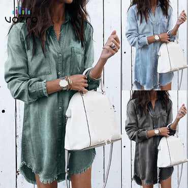 Long Sleeve Shirt Casual Bodycon Beach Dress