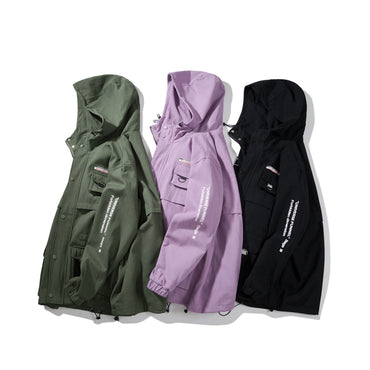 Hooded Jacket With Cargo Pocket Hip Pop Streetwear Jackets & Coats