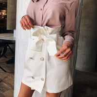 High Waist Button Bow Skirts