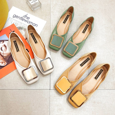 Square Toe Flat Shoes Retro Casual Flats shoes