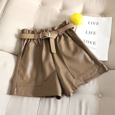 High Waist PU Leather Shorts