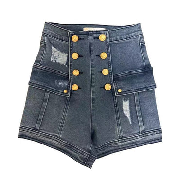 High Waist Golden Decoration Hole Trend Denim Shorts