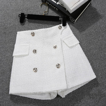 Loose High Waist Bright Silk Small Fragrance Shorts