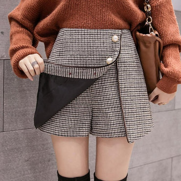 Houndstooth A-line Mini Shorts