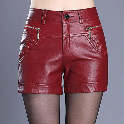 Black Red Faux Leather Skinny Shorts