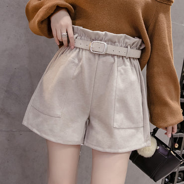 Wool Shorts Elastic Waist Free Belt Gray Shorts