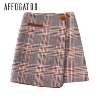 Elegant a-line plaid short skirt