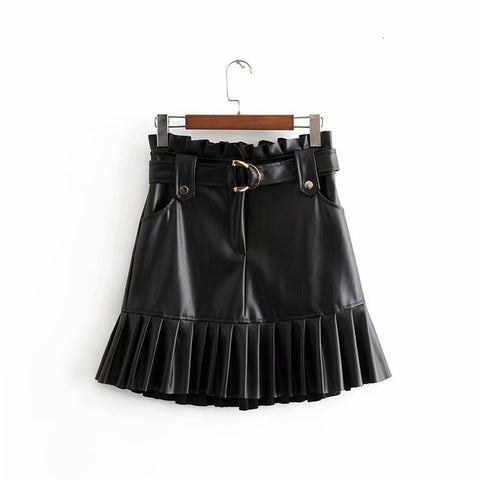 Pleated Sexy Mini Leather Skirts