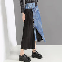 Patchwork Denim Hit Color Skirt