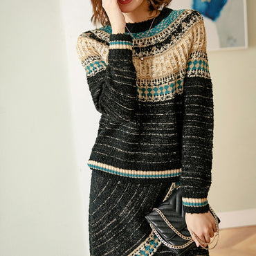 Small fragrant Egyptian sweater  fashion suit skirt