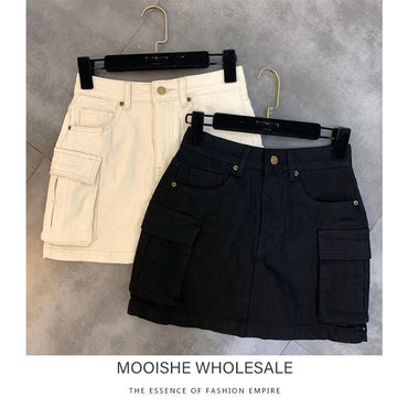 Decorative Elastic Side Pocket Denim Skirt