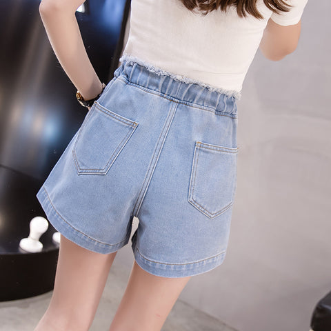 Tassels Elastic  jeans Waist high waist denim shorts