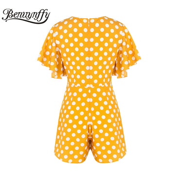 Wrap V-neck Butterfly Sleeve Polka Dot Jumpsuit Romper