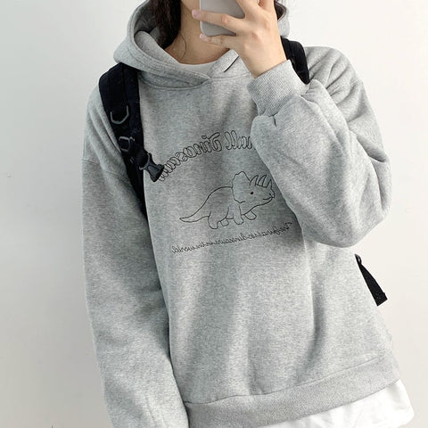 Blue Hoodies Small Dinosaur Embroidery Kawai Gray Sweatshirt Hoodies
