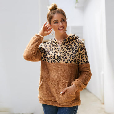 Leopard Printed Zippers Fur Sweatshirts Hoodies