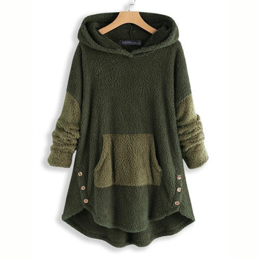 Long Sleeve Plush Fluffy Jumper Pull Hooded