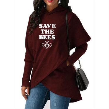 SAVE THE BEES Letters Split Sweatshirts Hoodies